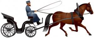 Mann auf einer Pferdekutsche.