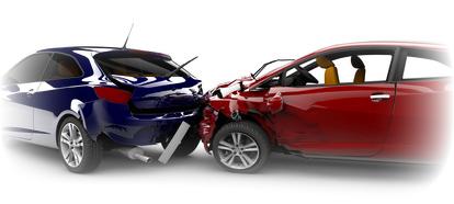 Zwei Fahrzeuge bei einem Unfall - Blechschaden.